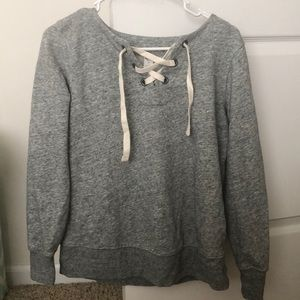 grey old navy lace up long sleeve top